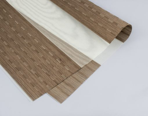Rèm combi tông màu nâu gỗ