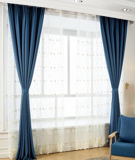 rèm vải màu xanh coban